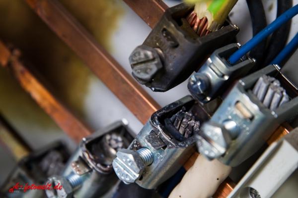 Kurzschluss in einer elektrischen Anlage Kupfer Sammelschinensystem